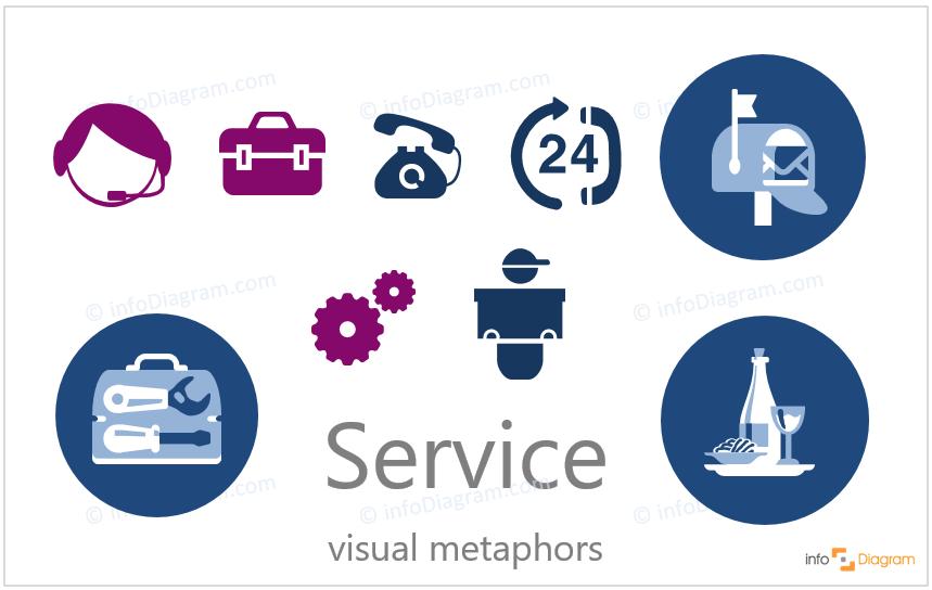 service flat icon ppt modern
