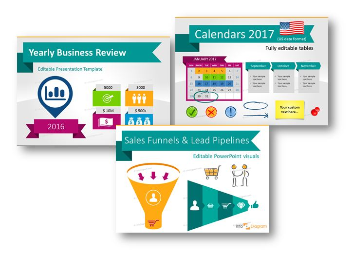 yearly business review calendars 2017 sales funnel icons