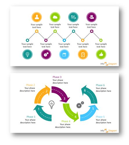 circular 6 steps roadmap arrow timeline diagram, 9 steps timeline roadmap with signpost icons