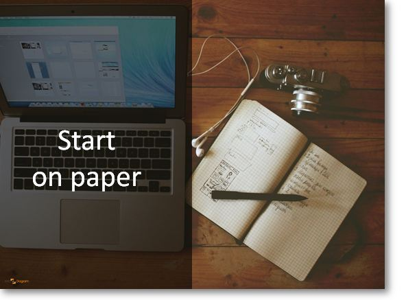 creative ppt start on paper idea