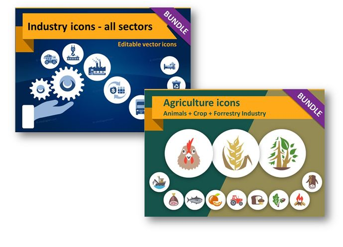 industry and agriculture icons ppt