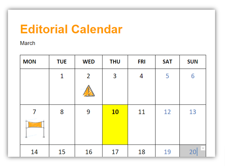 deadline in calendar show creatively