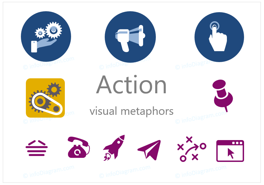 action ppt icon simple flat