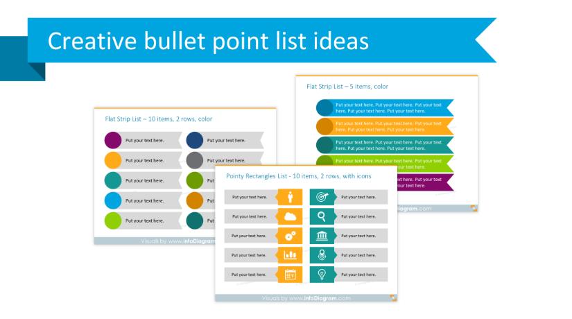 Get rid of bullet points! Three creative list presentation ideas