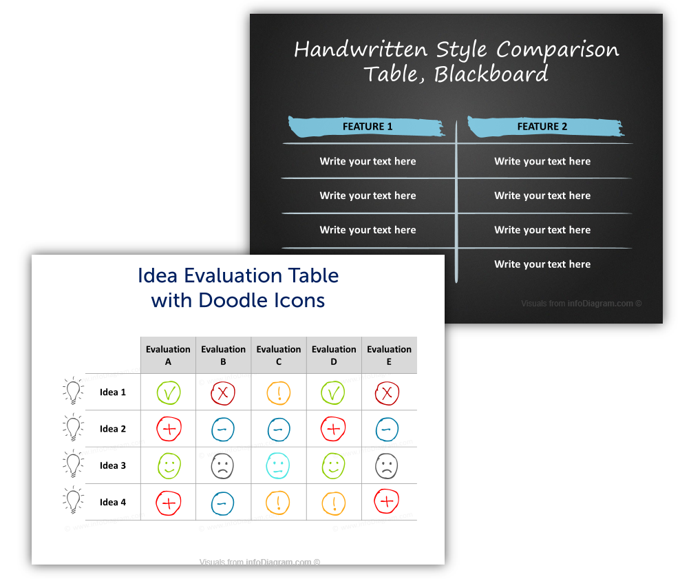 hand drawn tables infographics powerpoint template