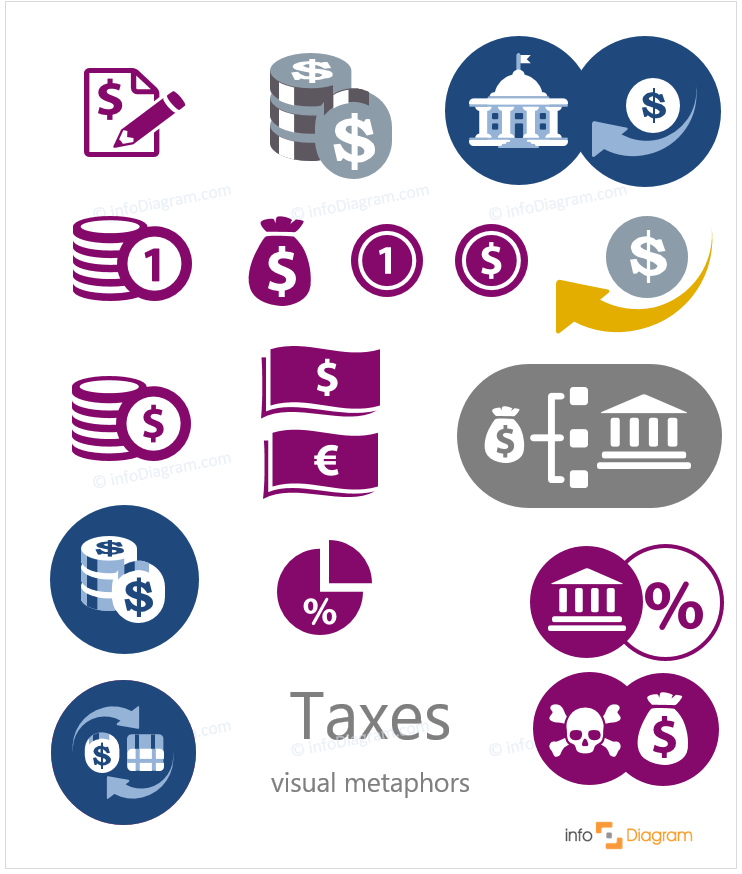 tax taxes flat simple icons ppt