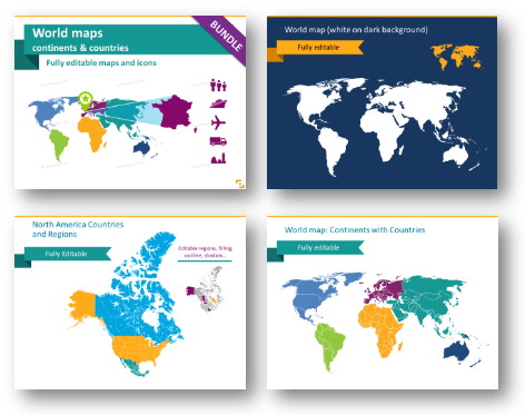 world maps templates blank map ppt design