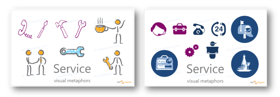 service icons creative neutral presentation