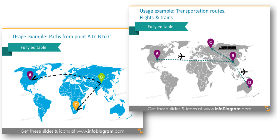 logistics transportation routs paths world editable map