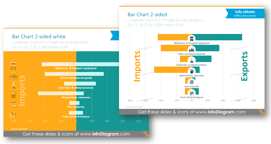 bar chart colorful background financial infographics two-sided