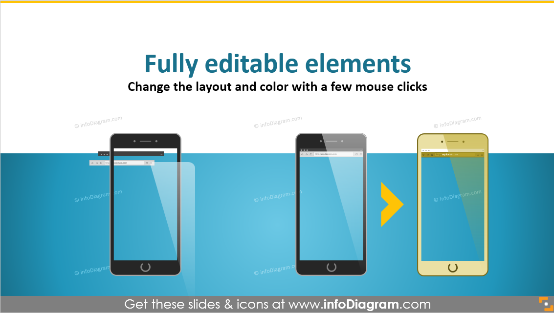 example smartphone editable mock-up ppt