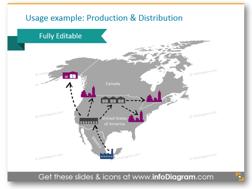 north america map logistics production distribution ppt