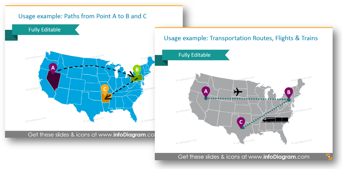 north america map transport route path ppt