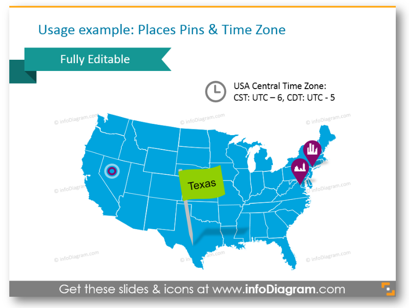 north america map template time zone place pin ppt