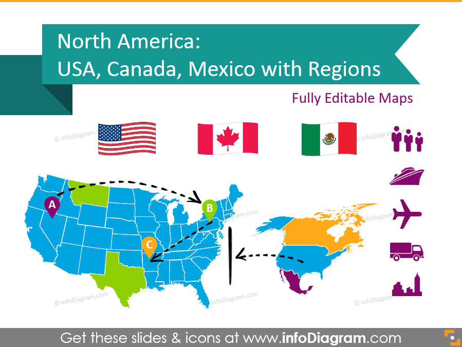 North America Map Templates for Awesome Slides: Countries and States ...