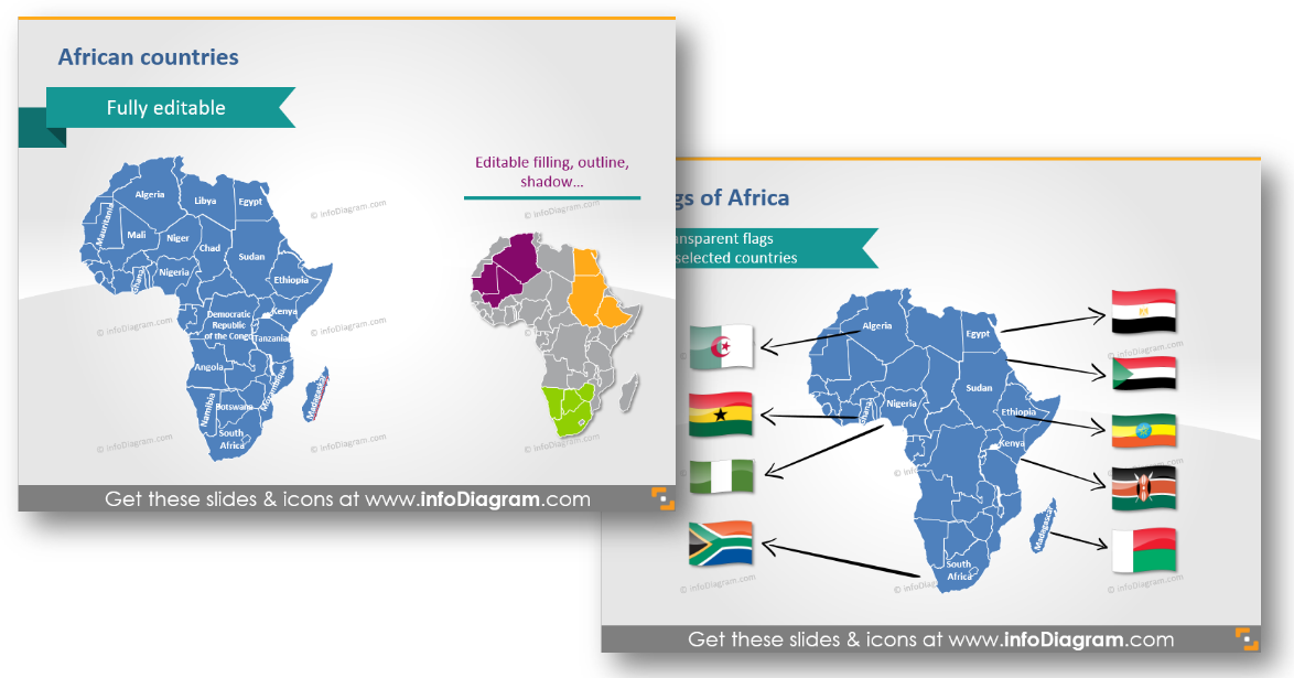 africa geographical map flags