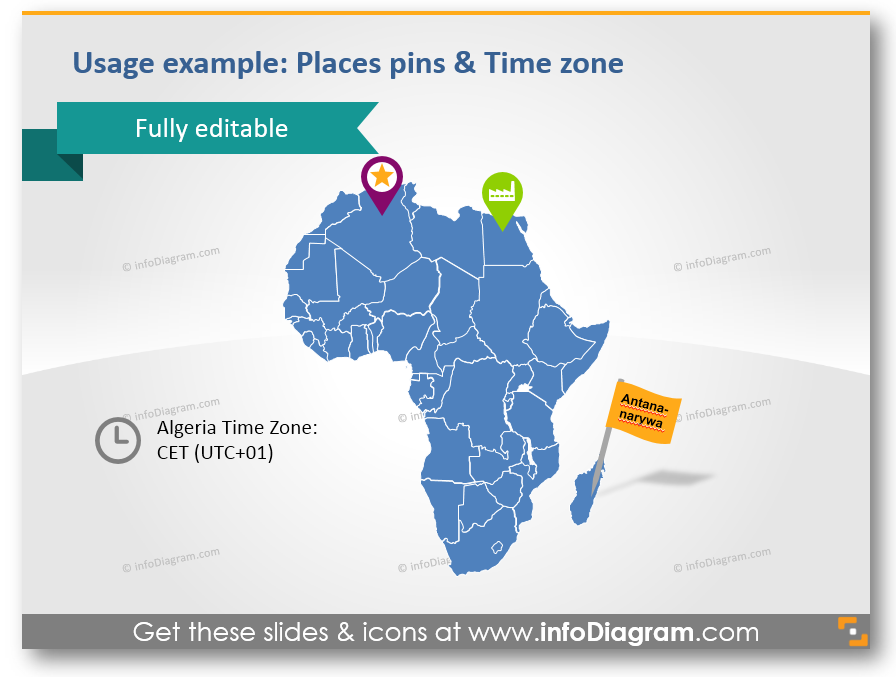 time zone place pin city african map