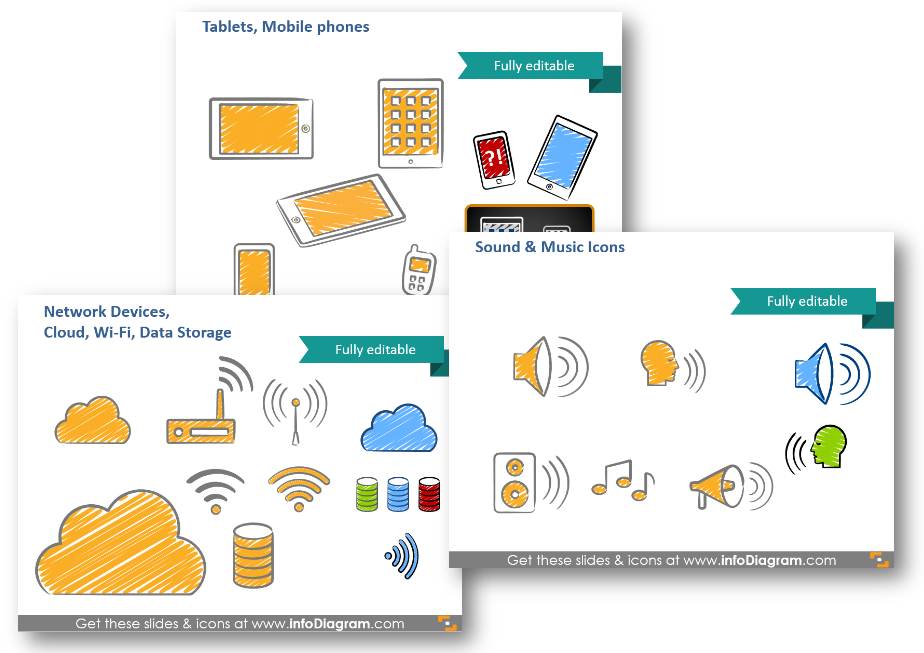 it devices cloud network icons ppt