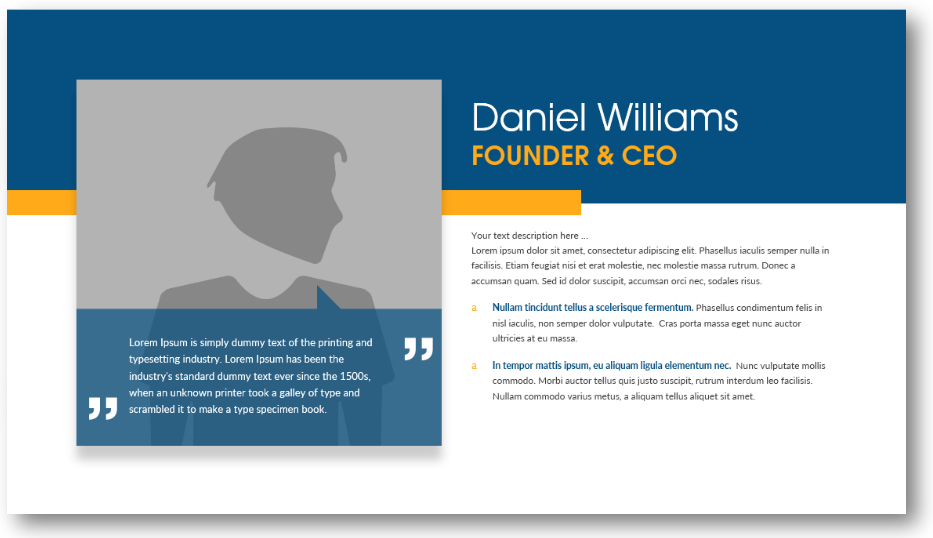 biography slide founder ceo presentation ppt
