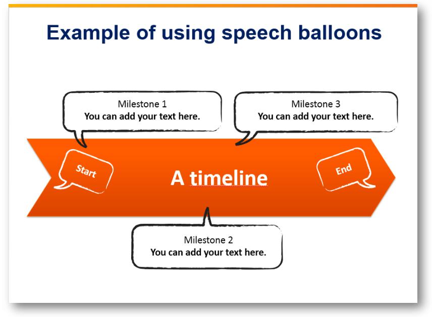 timeline speech balloons milestones ppt