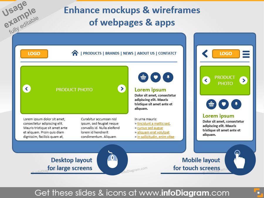 mock-p example wireframe web page ppt