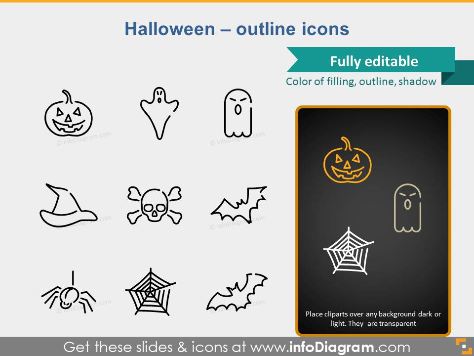 icons halloween ghost bat hat pumpkin ppt