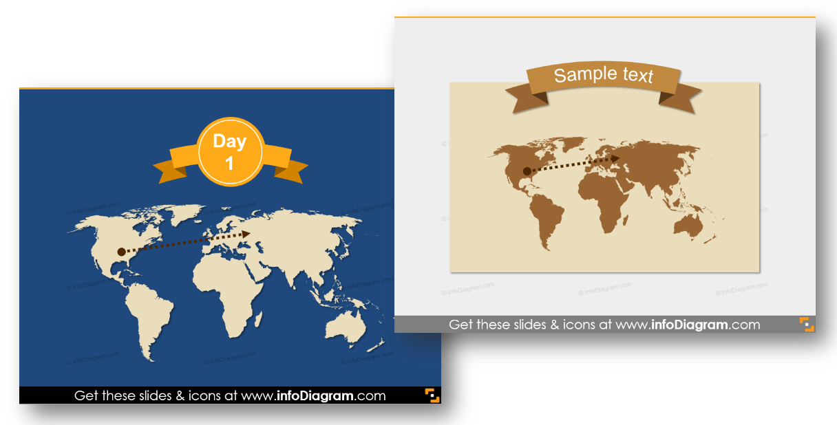 headline header map powerpoint trip