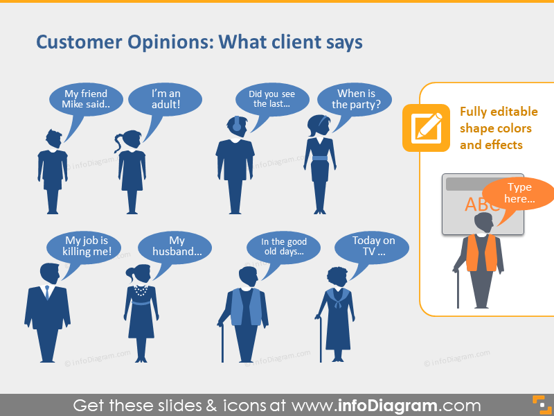 clients opinions speech balloons ppt