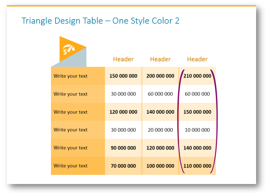 tables column marker ppt
