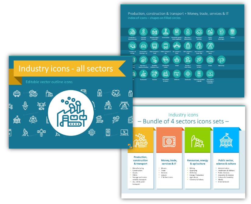 Industries Outline Icons production finance public services powerpoint
