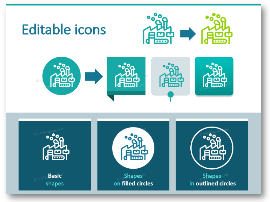 fully editable powerpoint icons outline industry
