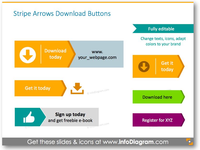 stripe arrows download buttons