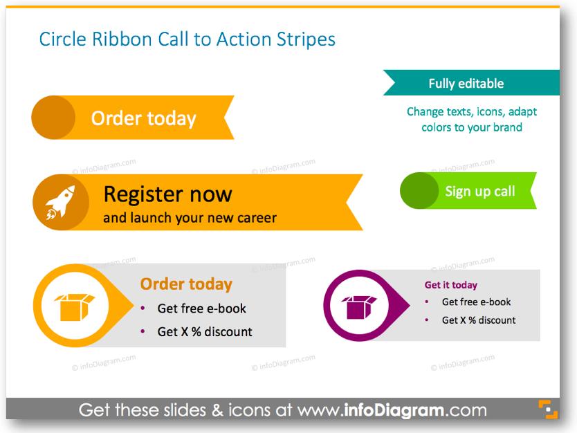 circle ribbon call to action stripes