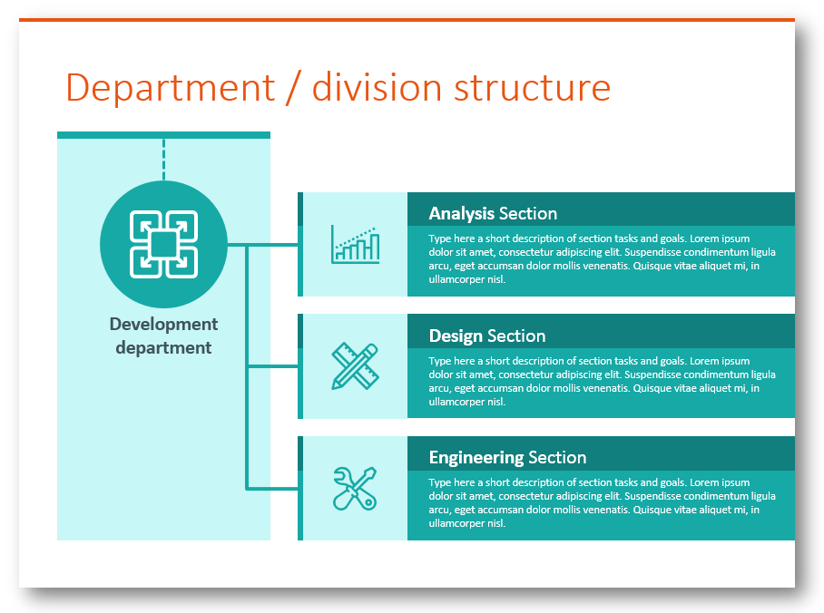 department division structure diagram powerpoint