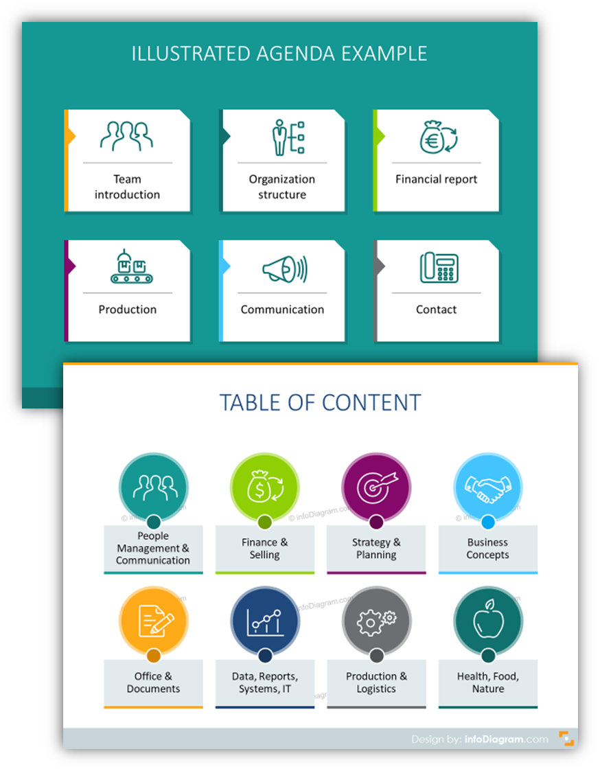 Outline style infographics content table ppt