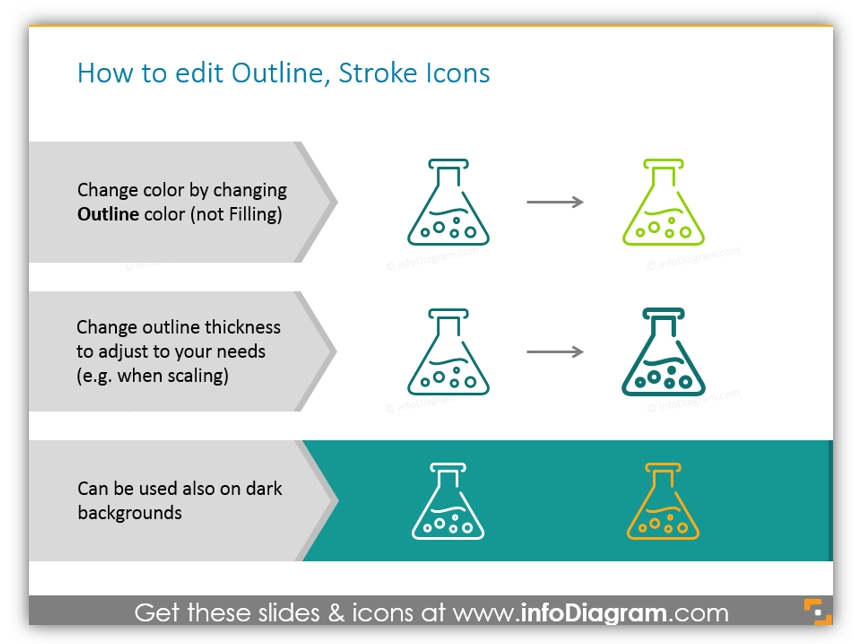 Outline style Business icons infographics