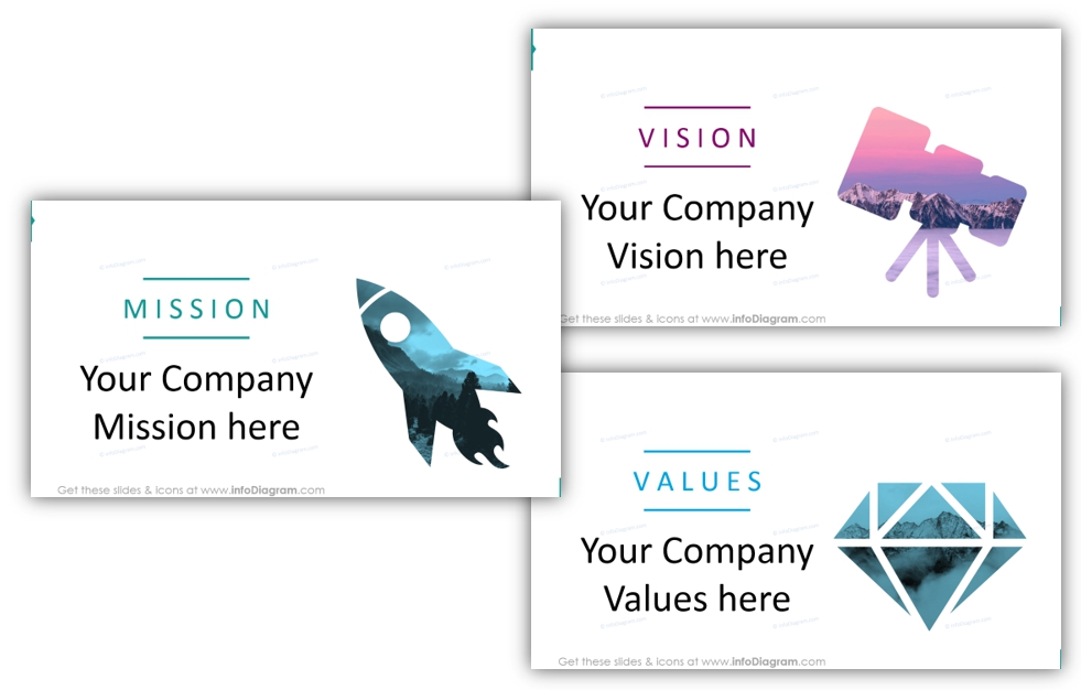 Example of the company vision mission values creative slides