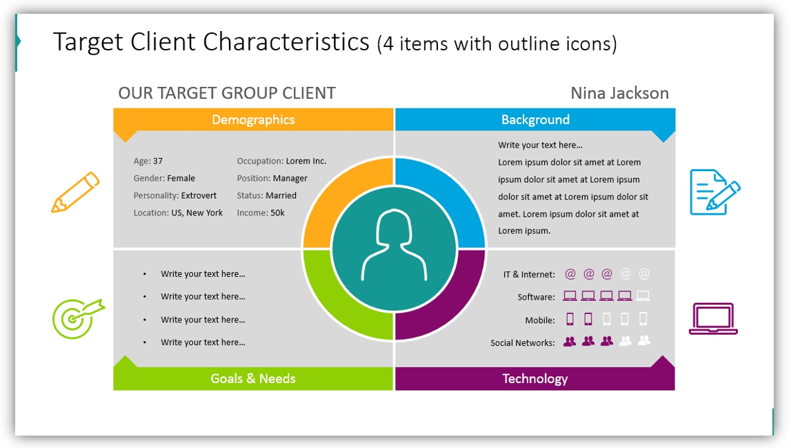 buyer persona Target Client Characteristics ppt