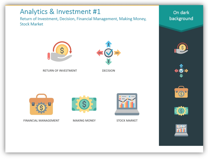 color icons analytics investment symbols