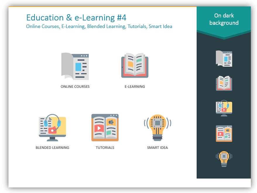 color icons e-learning education