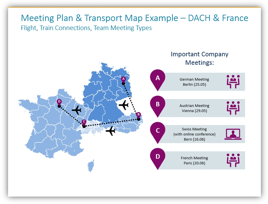 map graphics meeting transport map france dach countries