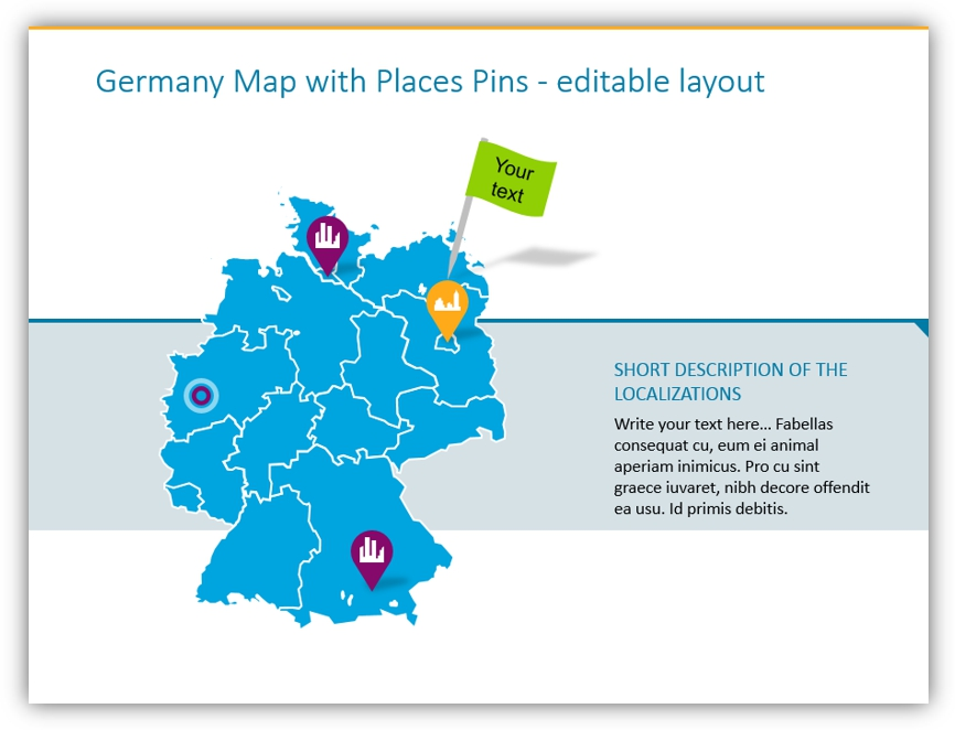 map graphics germany map pins powerpoint