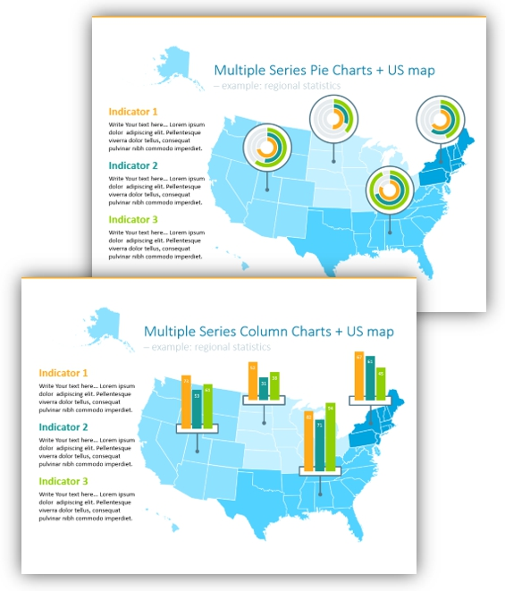 map graphics charts on a map powerpoint