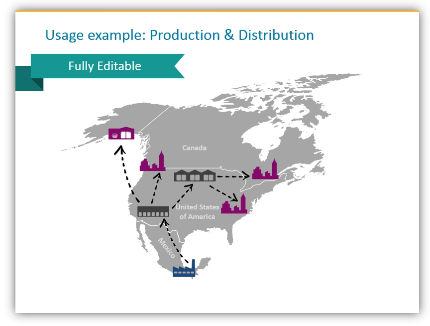 map graphics production distrubution map ppt