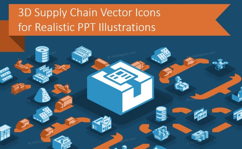 Using 3D Supply Chain Vector Icons for Realistic PPT Illustrations