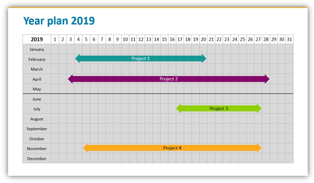 calendar graphics yearly plan ppt