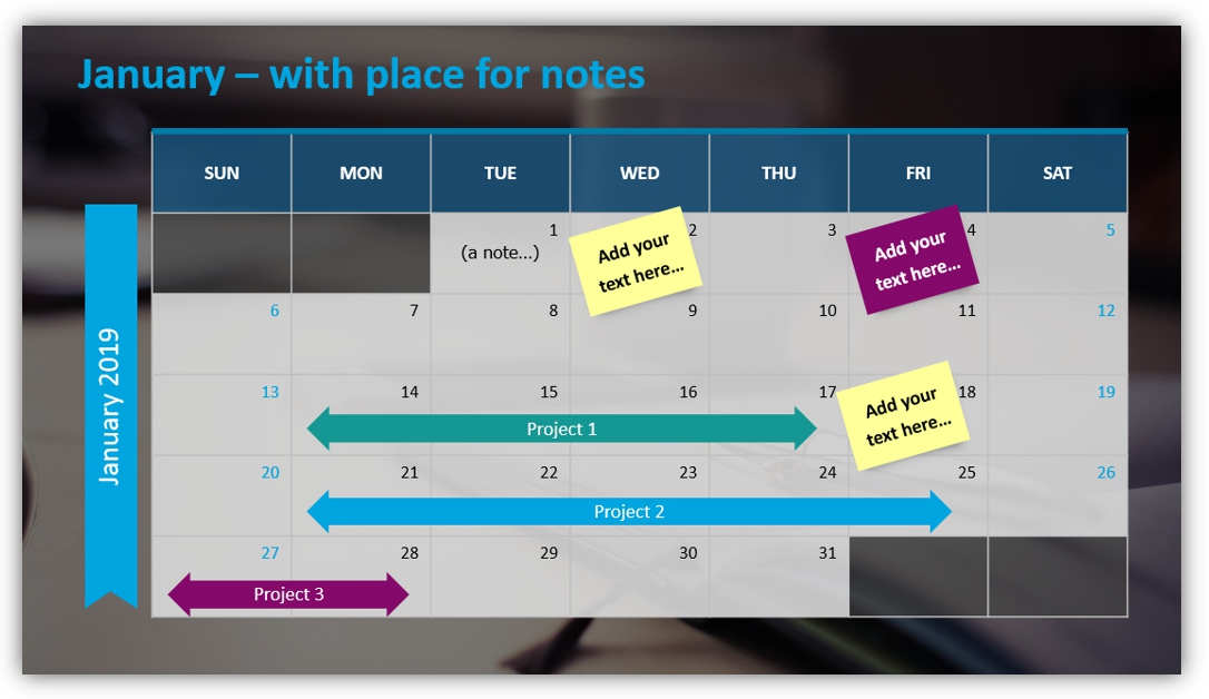 calendar graphics place for notes ppt