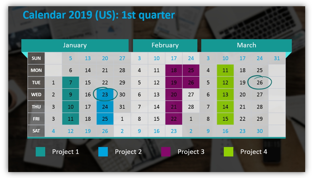 calendar graphics quarter ppt