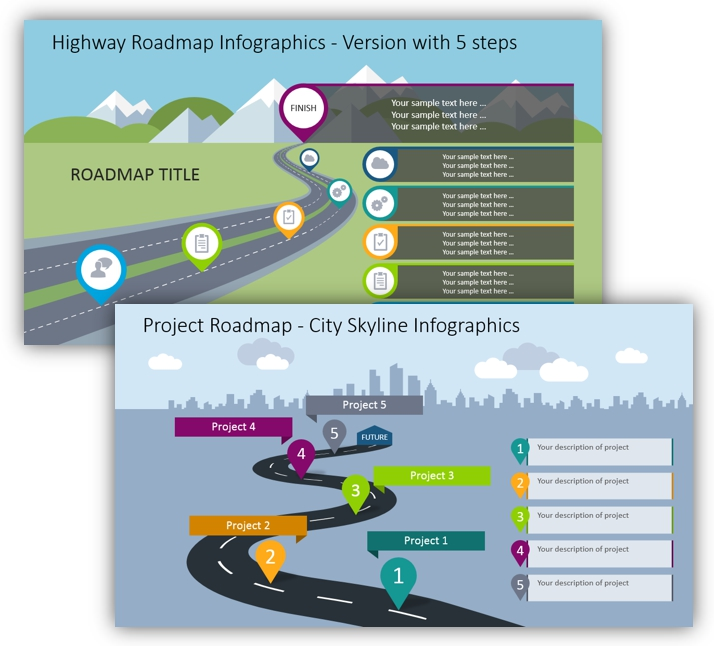 curved roadmap infographics powerpoint