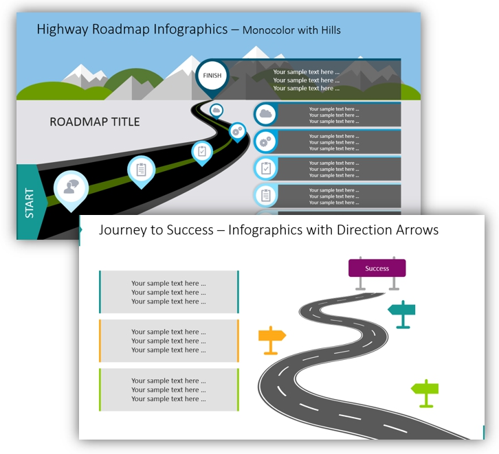 curved roadmap highway journey ppt